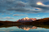 Sunrise with Full Moon; Torres del Paine, Chile