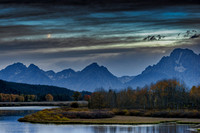 Crescent moon over Oxbow Bend