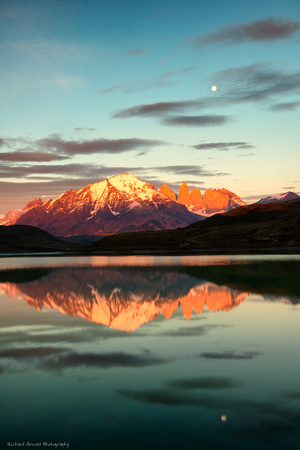 Reflection at sunrise; Torres del Paine